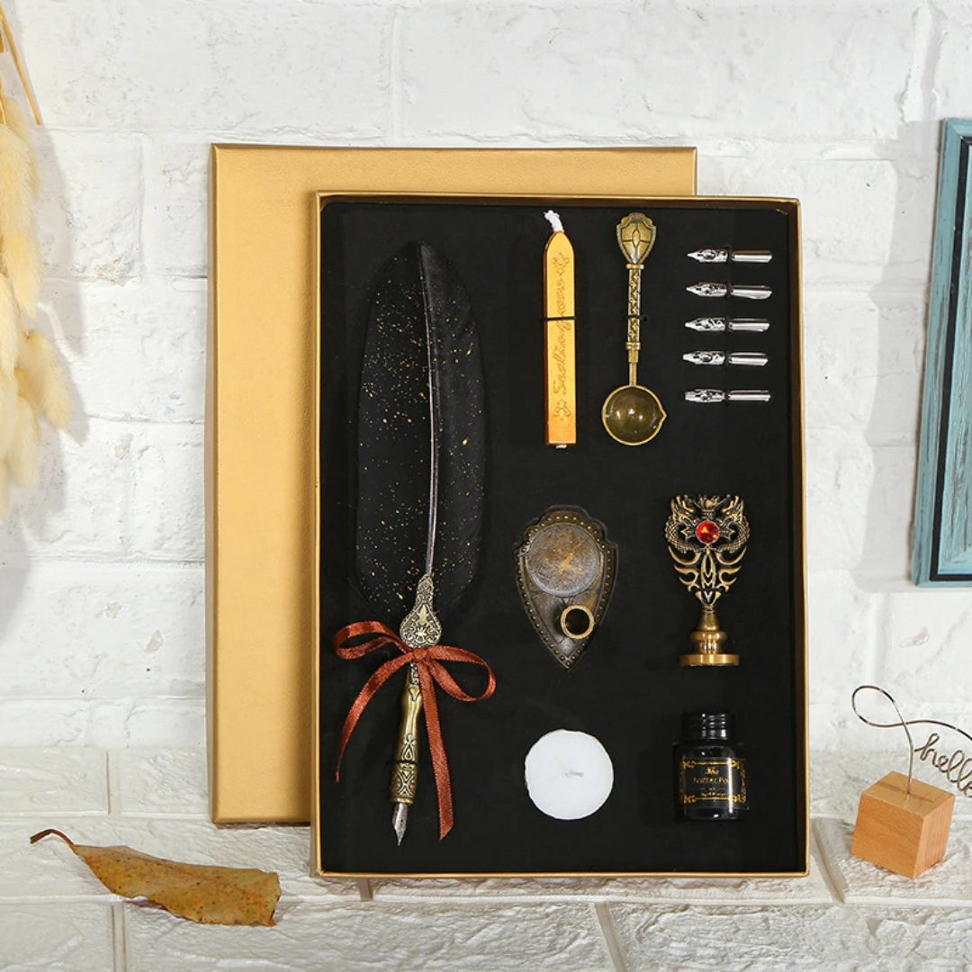 Calligraphy Gift Set - Feather Pen, Nibs, Seal, Wax etc (13 Products)