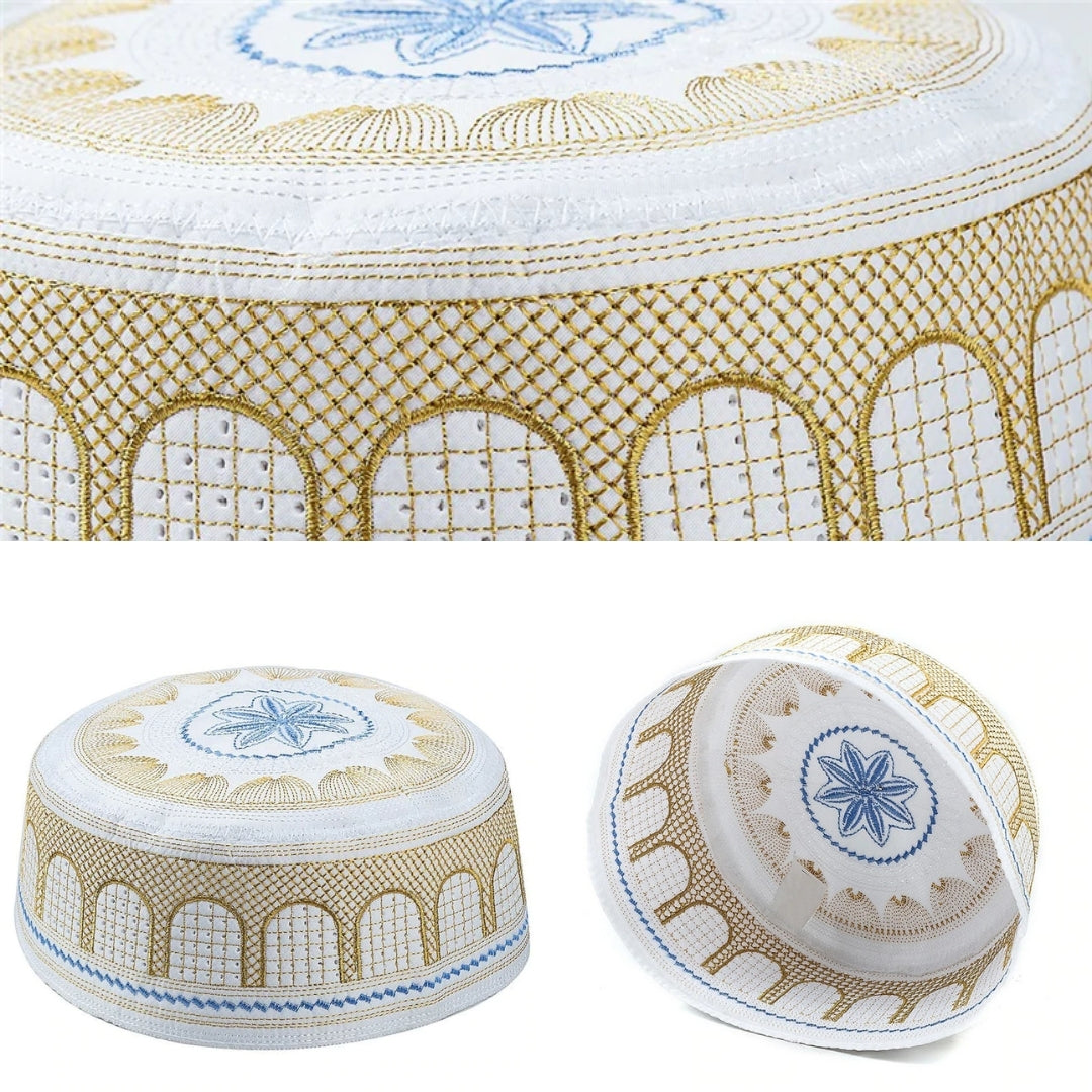 Islamic Muslim Handmade Salat Prayer Cotton Embroidery Cap (4 Colors)