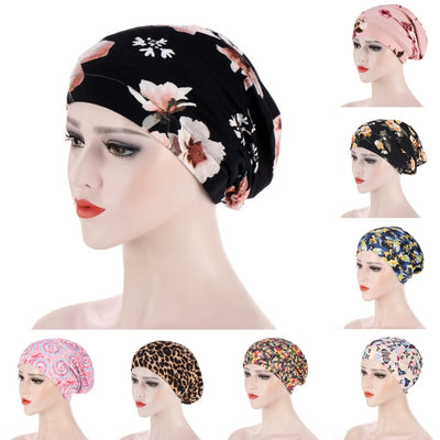 Floral Long Hair Bun Insert Ladies Headscarf Hijab Cotton Under Cap (12 Designs)