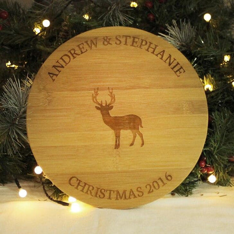 Reindeer Centered Couples Christmas Round Wooden Personalised Board - SpaceOutLabs