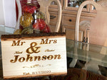 Personalized Wedding Present / Personalized Family Frame Live Edge Wood Sign