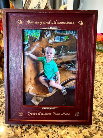 "Dark Solid Wood Glass 5x7"" Photo Frame 