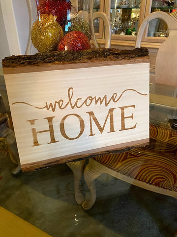 Welcome Home | Rustic Sign | Entryway sign | Live Edge Wood Sign