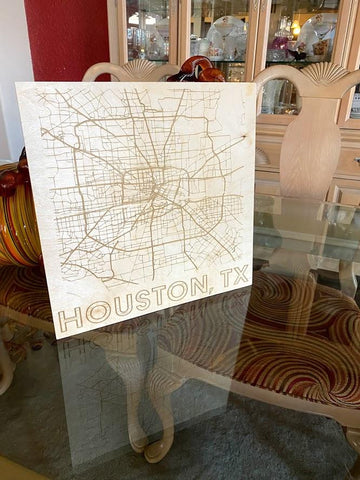 Map of Houston, Texas Wood Poster / Sign - SpaceOutLabs