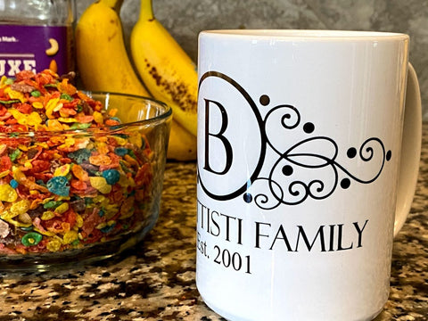 Family Last Name and Established Year Mug 12OZ Color Changing - SpaceOutLabs