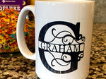 Large Initial and Last Name Custom Mug 12OZ - SpaceOutLabs