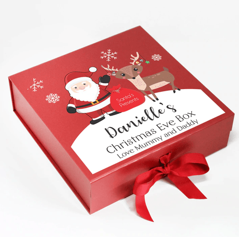Personalized Christmas Eve Box, Santa and Reindeer, Xmas Eve Treats - SpaceOutLabs