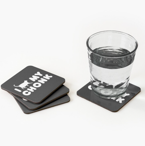 I Heart My Chonk Drink Coaster Set of 4