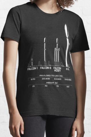 SpaceX Heritage Graphic Tee SpaceX Rockets Since Inception