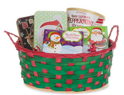Holiday Wicker Gift Basket Wrapping w Personalization Card