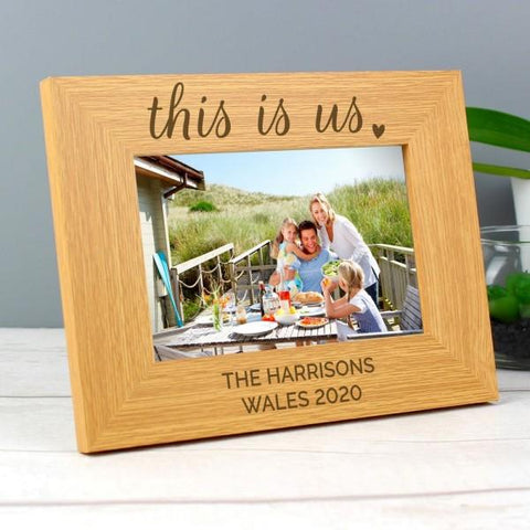 "Personalized ""This Is Us"" 5x7"" Landscape Wooden Photo Frame - SpaceOutLabs"