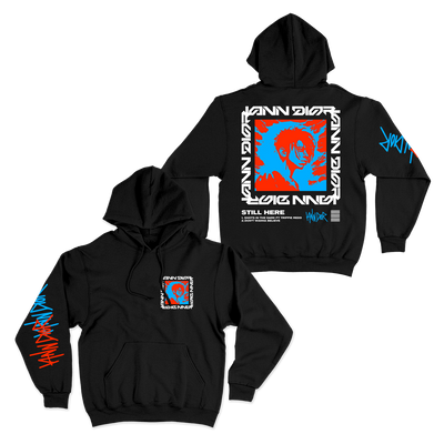 "Black hoodie, front and back show. Front has square logo printed on left chest, back has the same logo printed very large across the entire center back. The right sleeve has ""Iann Dior"" printed up the sleeve."