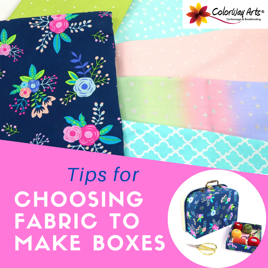 choosing fabric to make boxes