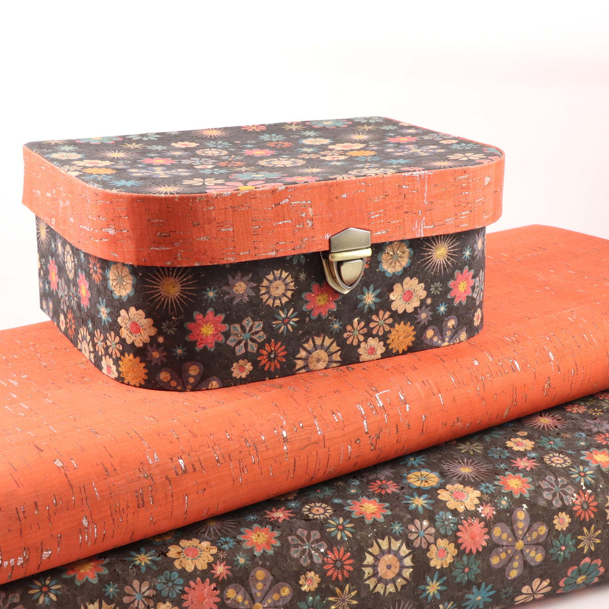 Brown floral cork fabric - Colorway Arts
