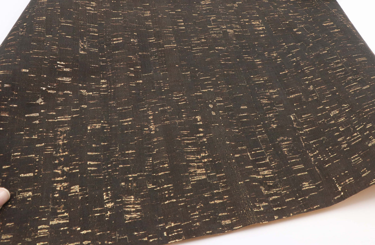 "Black / gold cork fabric - piece of 18"" x 15"" - Colorway Arts"