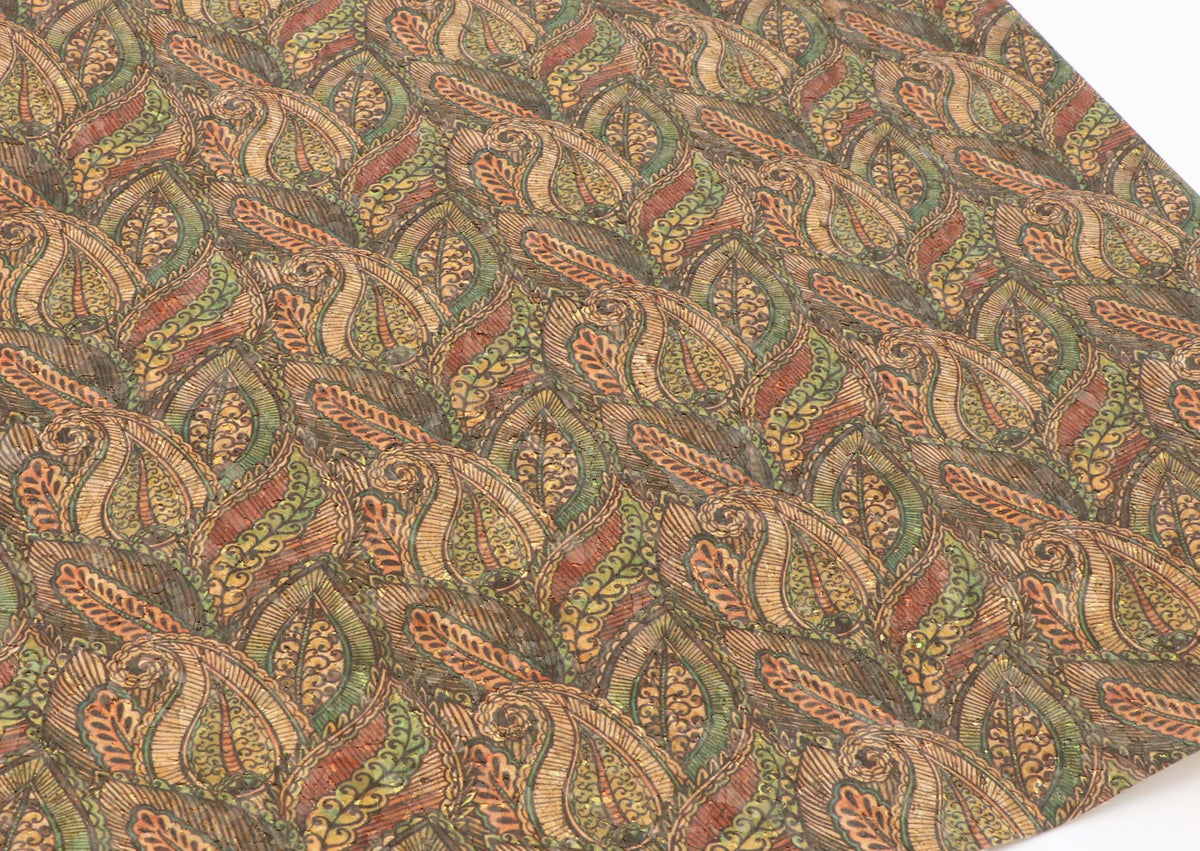 "Green paisley cork fabric - piece of 18"" x 15"" - Colorway Arts"