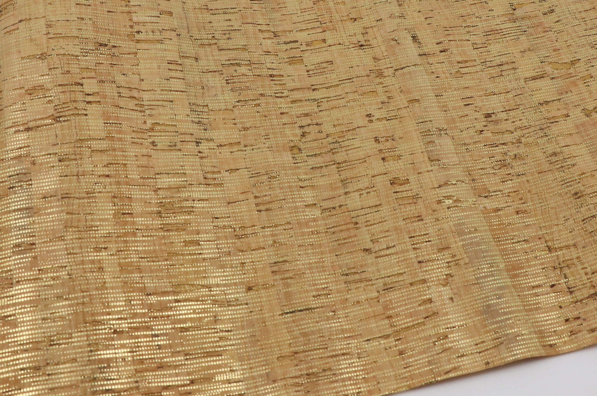 "Natural cork  fabric with gold lines - piece of 18"" x 15"" - Colorway Arts"