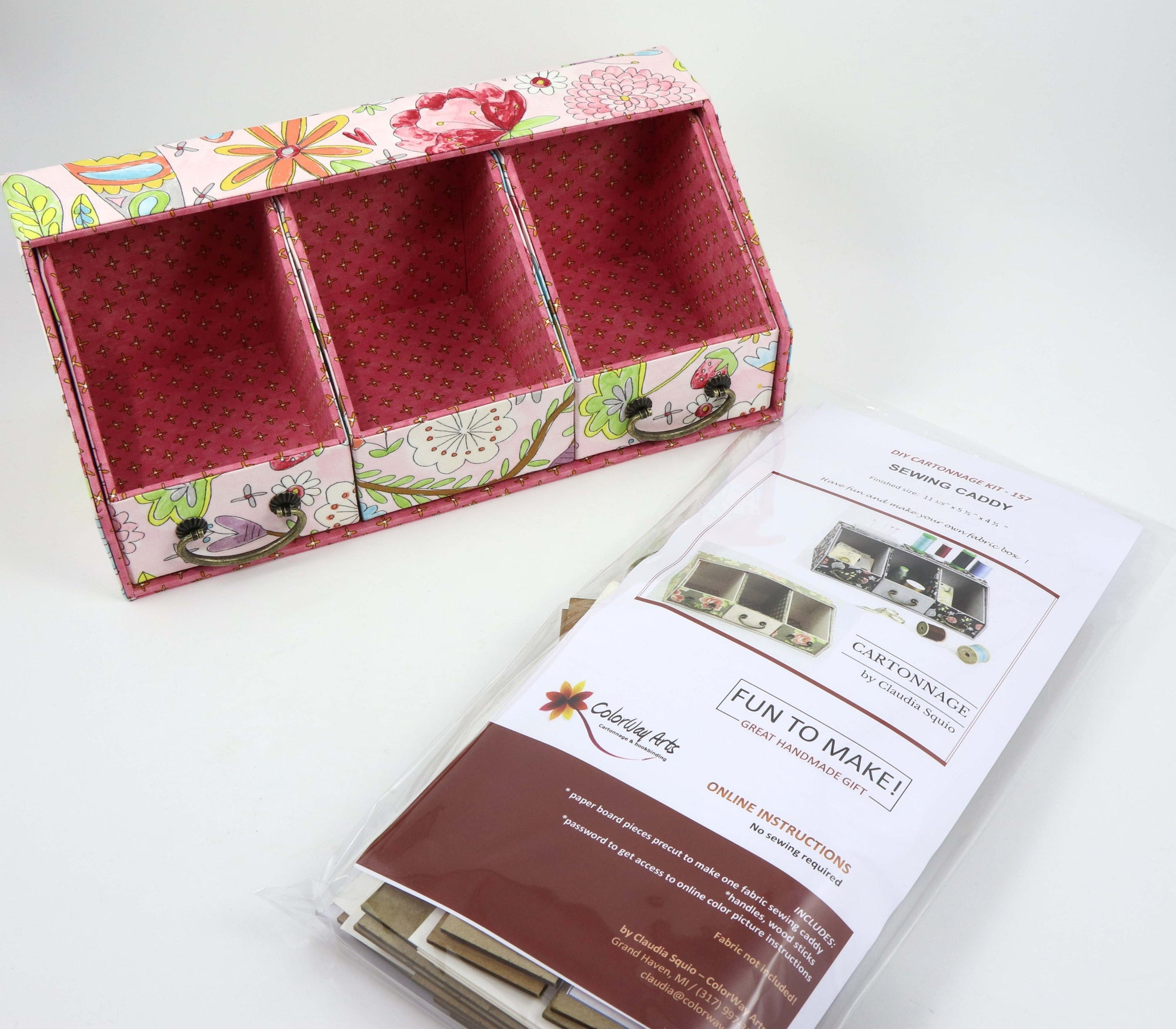 Fabric Sewing caddy DIY kit, cartonnage kit 157, Online instructions included - Colorway Arts