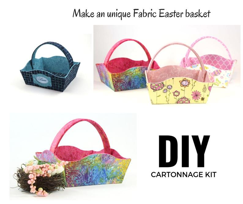 DIY cartonnage kit to make a fabric Easter basket, cartonnage basket, DIY kit 140a, online instructions included - Colorway Arts