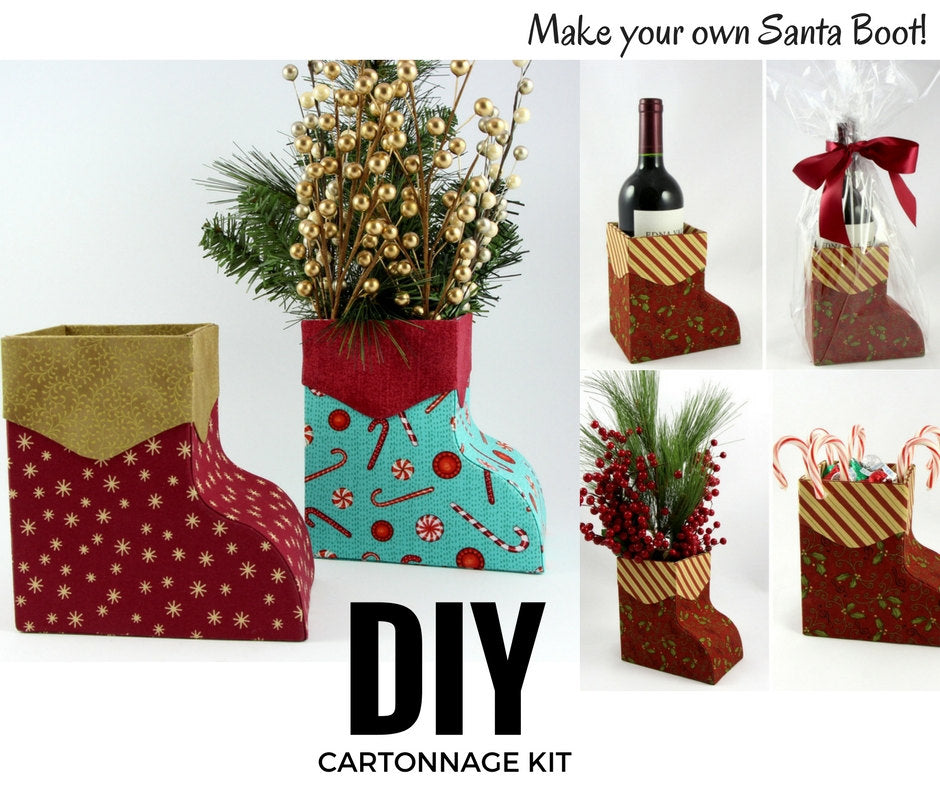 DIY cartonnage kit to make a Santa Boot box, cartonnage kit 152, online instructions included - Colorway Arts