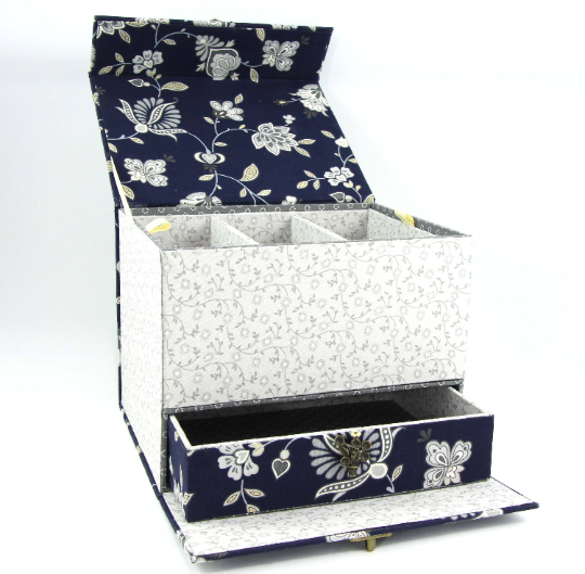 Fabric treasure chest with hidden drawer DIY kit, cartonnage kit 155, exclusive book kit - Colorway Arts