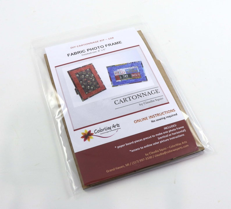 Fabric photo frame DIY kit, cartonnage kit 159, Online instructions included - Colorway Arts