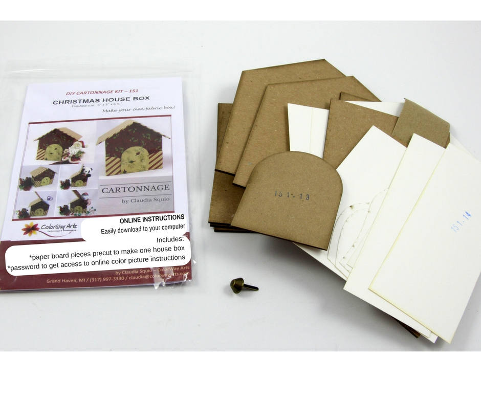 Fabric covered box house DIY kit, cartonnage kit 151, online instructions included - Colorway Arts