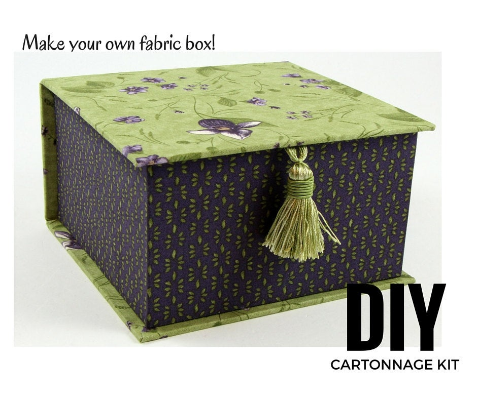 Fabric tea box DIY kit, cartonnage kit 108, online instructions included - Colorway Arts