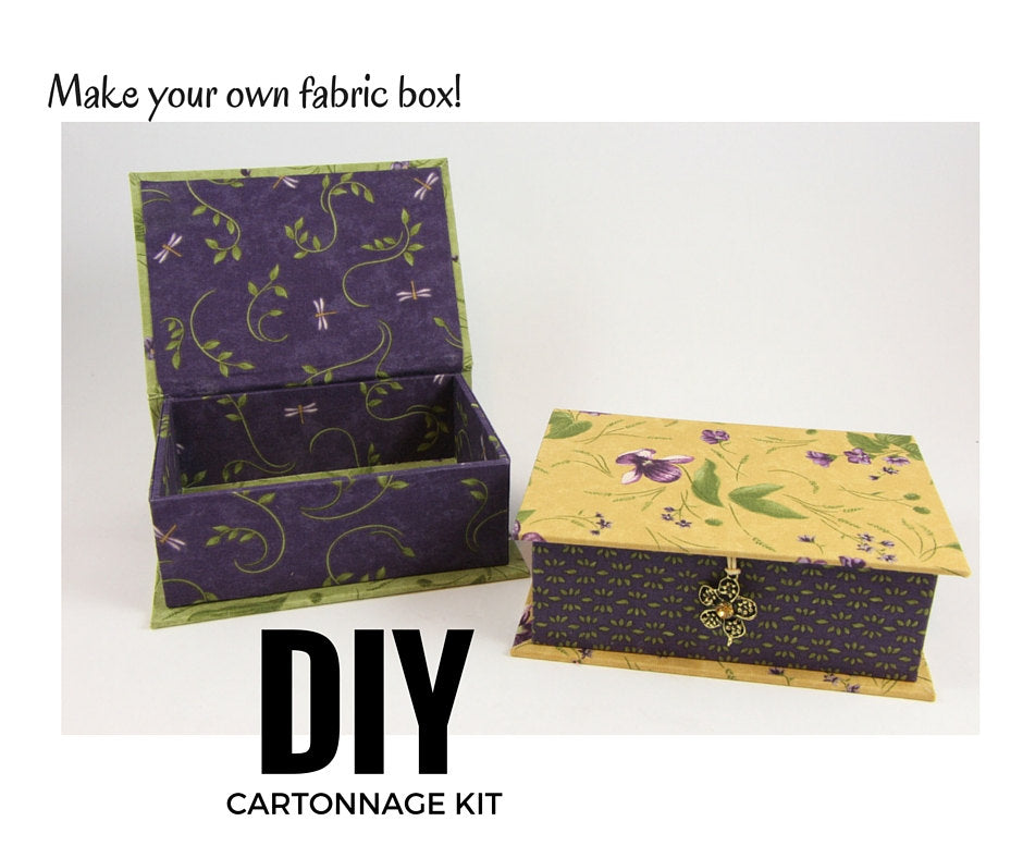 Fabric covered box DIY kit, small box cartonnage kit 102, Online instructions included - Colorway Arts