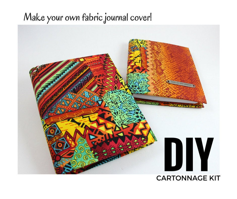 Reusable fabric journal cover  DIY kit, cartonnage kit 101, online instructions included - Colorway Arts
