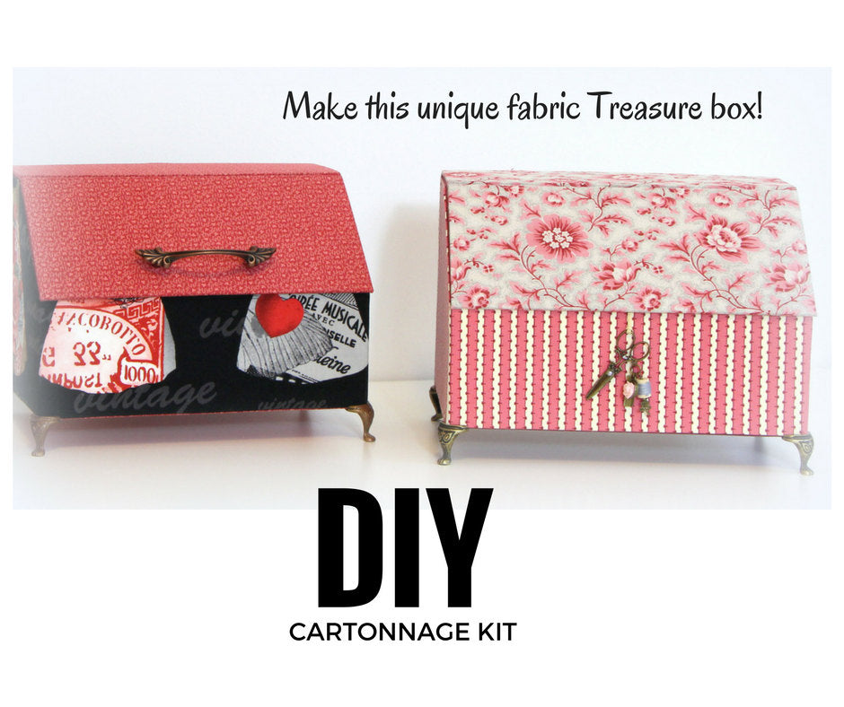 Fabric treasure box DIY kit, cartonnage  kit 146, online instructions available - Colorway Arts