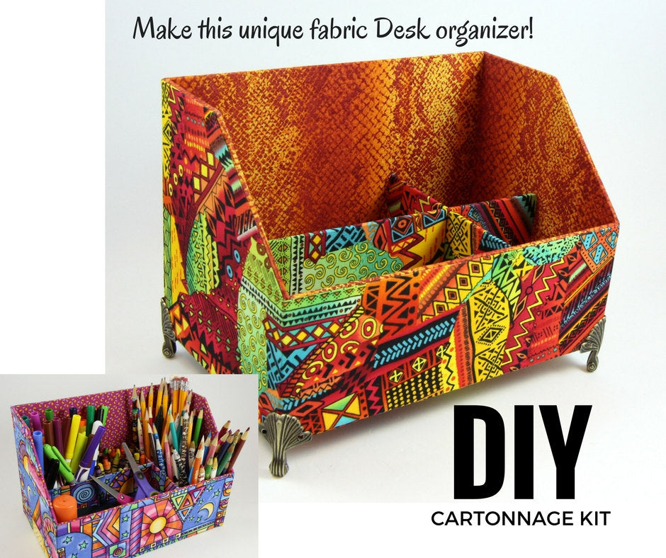 Fabric desk organizer DIY kit, cartonnage kit 149, online instructions included - Colorway Arts