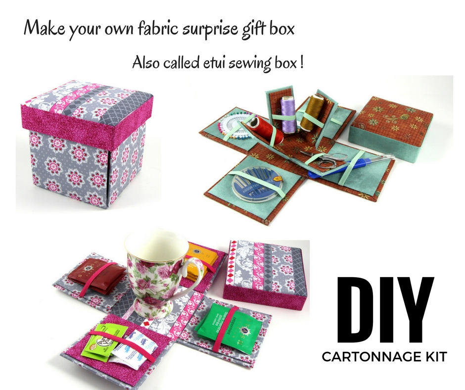Fabric Sewing box DIY kit, cartonnage kit 135, etui sewing box kit, surprise gift box, online instructions included - Colorway Arts