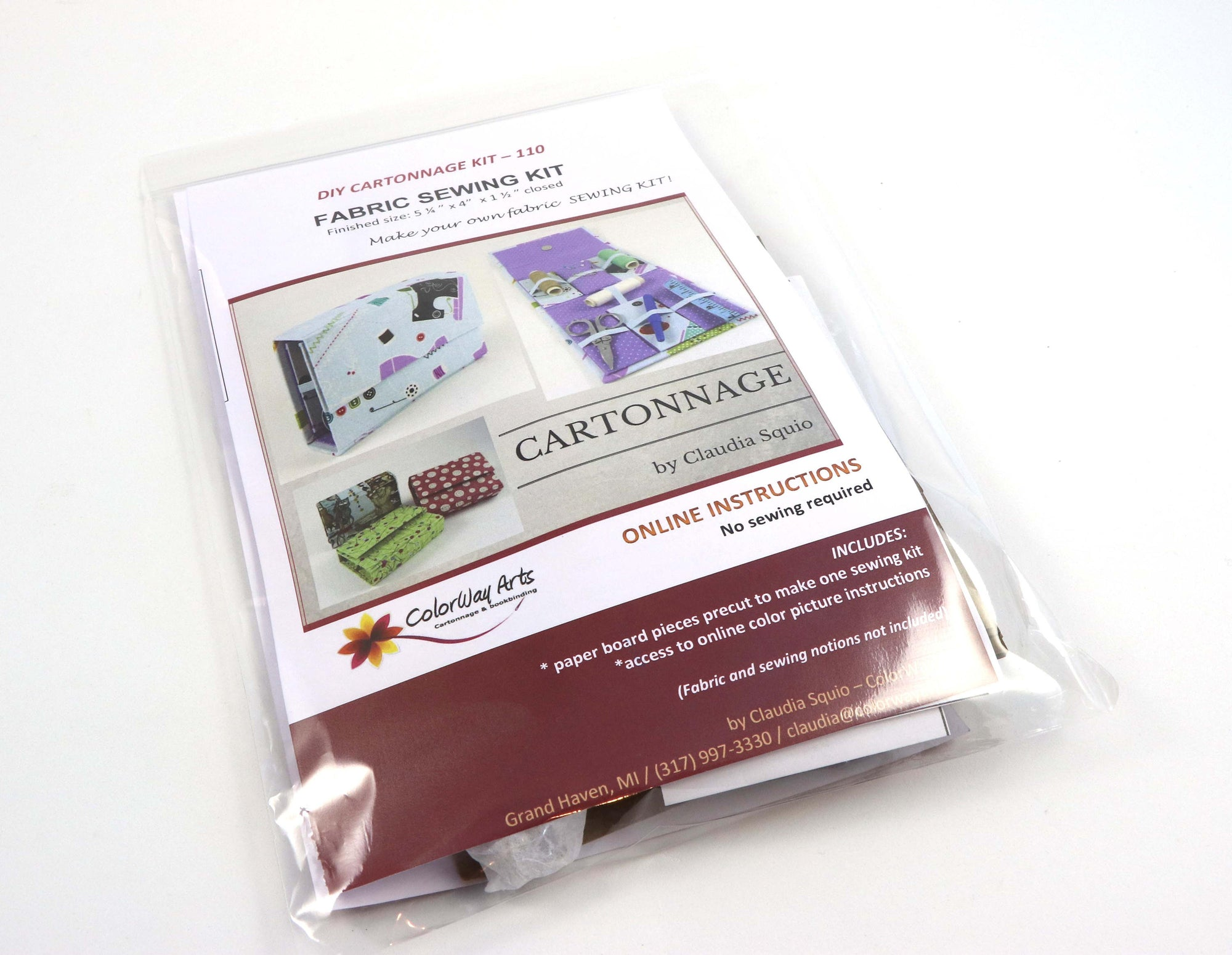 Fabric Sewing kit DIY kit, cartonnage kit 110, online instructions included - Colorway Arts