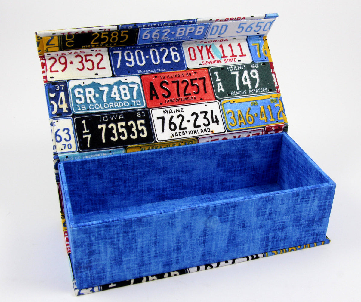 Fabric covered pencil fabric box, cartonnage kit 147, online instructions included - Colorway Arts
