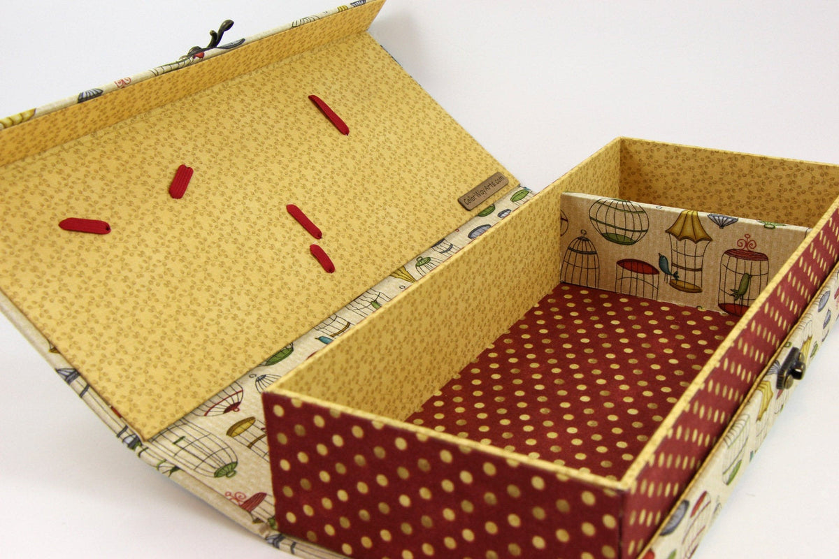 Fabric tool box DIY kit, cartonnage kit 138, online instructions included - Colorway Arts