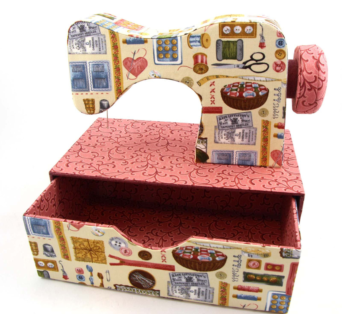 Fabric sewing machine DIY kit, cartonnage kit 150, diy fabric sewing machine with drawer, online instructions included - Colorway Arts