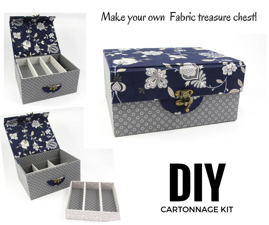 Fabric treasure chest DIY kit, cartonnage kit 154, exclusive book kit - Colorway Arts