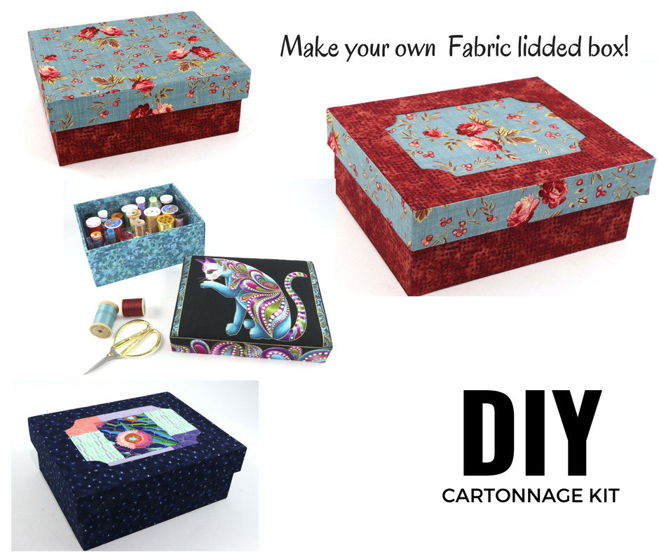 Fabric lidded storage box DIY kit, cartonnage kit 160, online instructions included - Colorway Arts