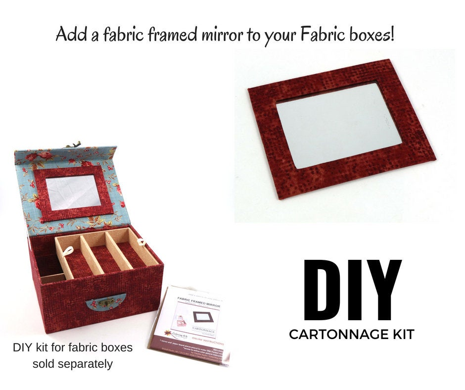 Fabric framed mirror DIY kit, fabric framed mirror, cartonnage kit 163, Online instructions included - Colorway Arts