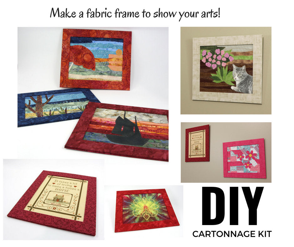 Fabric frame DIY kit, fabric frame to add your art, cartonnage kit 161, video tutorial  included - Colorway Arts
