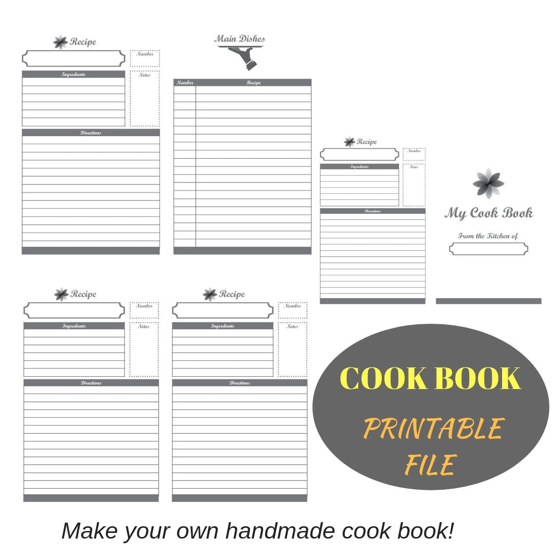 Printable recipe book for bookbinding, cook book printable, bookbinding printable - Colorway Arts