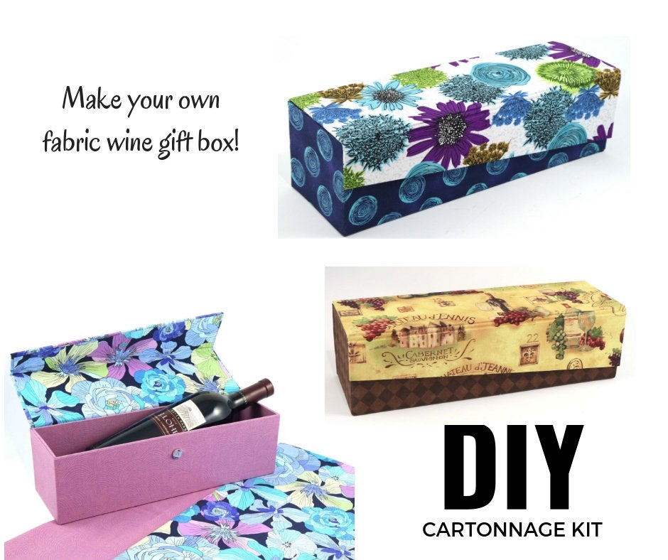 Fabric wine box DIY kit, cartonnage kit 165, online instructions included - Colorway Arts
