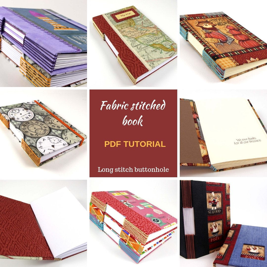 Fabric stitched book PDF tutorial, fabric album, fabric stitched journal, bookbinding PDF tutorial - Colorway Arts