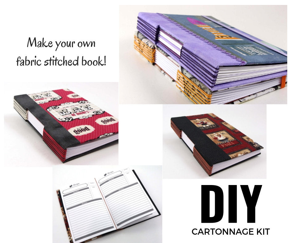 Fabric book DIY kit, bookbinding cook book kit 109, instructions not included - Colorway Arts