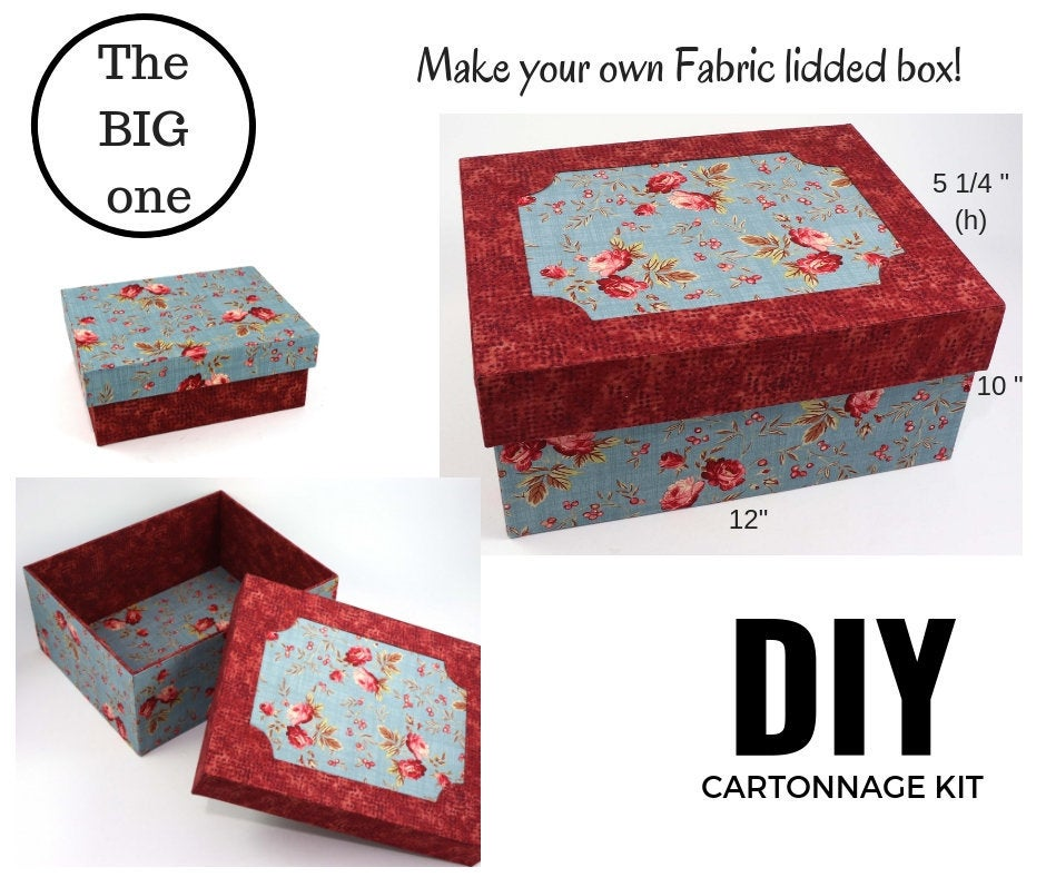 BIG Fabric lidded storage box DIY kit, cartonnage kit 162, online instructions included - Colorway Arts