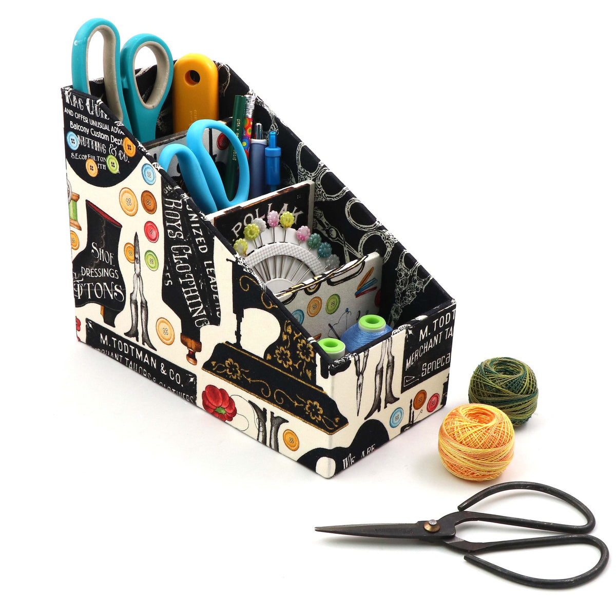 Fabric caddy organizer DIY kit, remote control caddy, fabric box kit, art supply organizer, cartonnage kit 170 - Colorway Arts