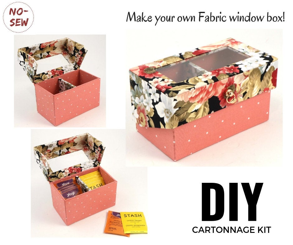 Small elegant window box DIY kit, cartonnage kit 173, Online instructions included - Colorway Arts