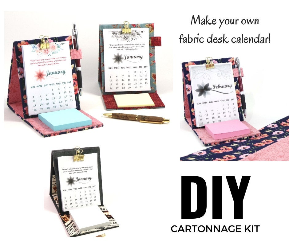 DIY fabric desk calendar, cartonnage kit 105,  free online instructions and printable calendar sheets - Colorway Arts