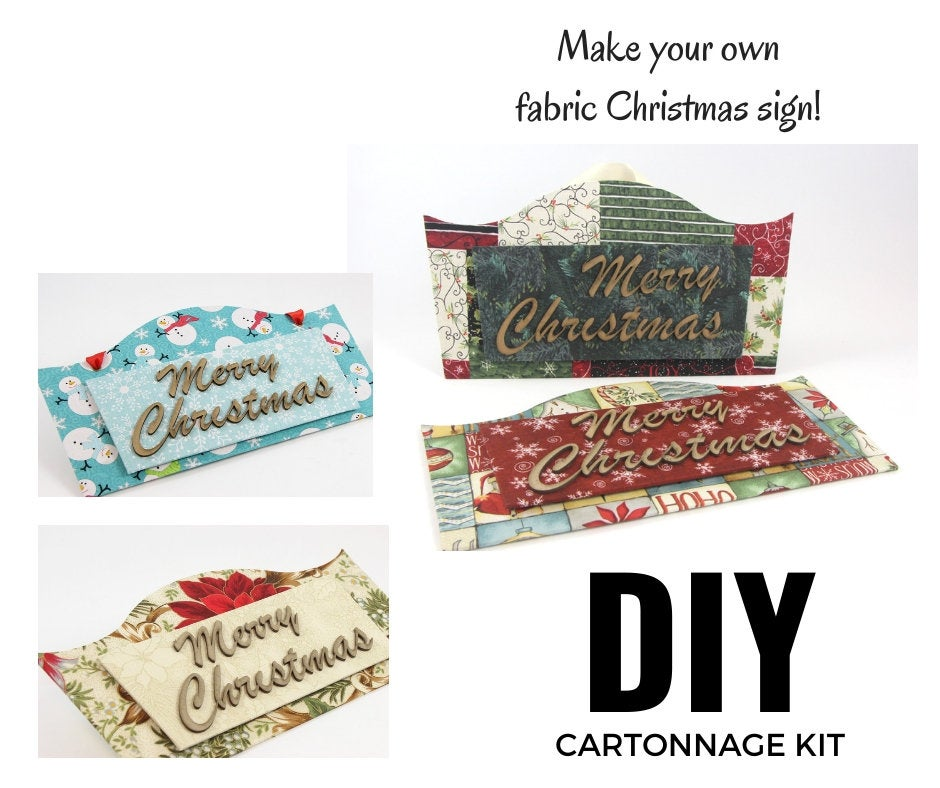 Fabric Christmas sign DIY kit, Christmas sign decor, cartonnage kit 142, online instructions included - Colorway Arts
